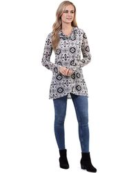 Izabel London - Black Rolled Neck Printed Tunic Top - Lyst