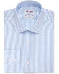 Tm Lewin - Slim Fit Blue Check Twill Button Cuff Long Sleeve Length Shirt - Lyst