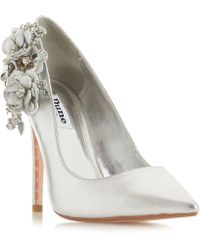 Dune - Silver Leather 'belelflower' High Stiletto Heel Court Shoes - Lyst