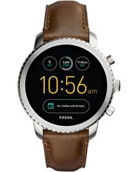 Fossil - Explorist Brown Leather Strap Smart Watch - Lyst