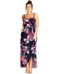 a854b1b79f3d Evans - City Chic Multi Coloured Rose Strapless Maxi Dress - Lyst