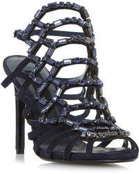 20cb62459ab1 Dune - Navy  moonstone  Black Sand Embellished Caged High Heel Sandals -  Lyst