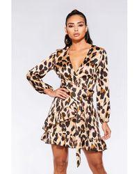 Quiz - Stone And Black Satin Leopard Print Wrap Dress - Lyst