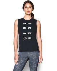 Under Armour - Black Cotton Blend 'girl Boss Muscle' Tank Top - Lyst