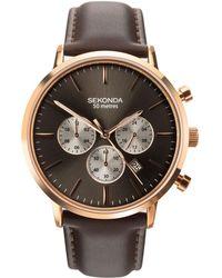 Sekonda - Men's Brown Dual-time Leather Strap Watch 1659.28 - Lyst