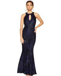 c8135cd17a Quiz Blue Floral Print Chiffon High Neck Sleeveless Maxi Dress in Blue -  Lyst