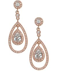 Anne Klein - Rose Gold 'social' Pave Orbital Drop Earrings - Lyst