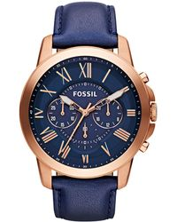 Fossil - Men's Navy 'grant' Chronograph Leather Watch Fs4835 - Lyst