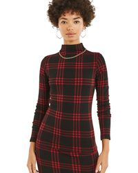 Oasis - Multi Red Tartan Check Cosy Top - Lyst