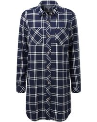 Tog 24 - Navy Check Dalton Double Weave Long Shirt - Lyst