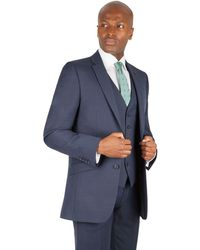 Racing Green - Blue Pick And Pick Tailored Fit 2 Button Suit Jacket - Lyst