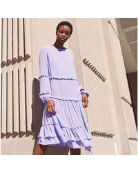 Preen By Thornton Bregazzi - Lilac Frill Chiffon Round Neck Long Sleeves Smock Dress - Lyst