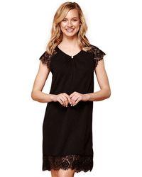 Yumi' - Black Lace 'ava' Knee Length Tunic Dress - Lyst