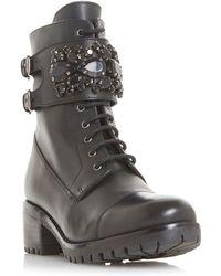 Dune - Black Leather 'raya' Biker Boots - Lyst