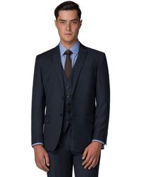 Racing Green - Deep Blue Pick And Pick Tailored Fit 2 Button Suit Jacket - Lyst