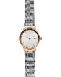 Skagen - Ladies Silver And Rose Gold 'freja' Analogue Mesh Bracelet Watch - Lyst