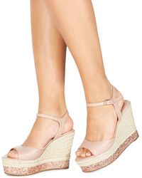 Faith - Light Pink 'liddy' High Wedge Heel Ankle Strap Sandals - Lyst