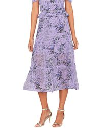 Oasis - Multi Lilac 'provence' Tiered Midi Skirt - Lyst