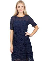 Izabel London - Navy Layered Lace Midi Dress - Lyst