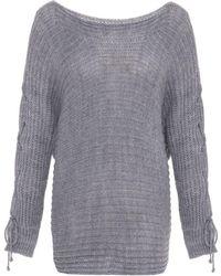 Quiz - Light Grey Knitted Batwing Sleeve Jumper - Lyst