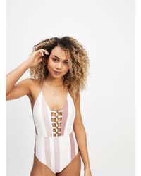 859d50faea ASOS Fuller Bust Plunge Swimsuit Flamenco Floral Stripe Print Dd-g ...