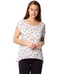 Izabel London - White Short Sleeve Floral Print Blouse Top - Lyst