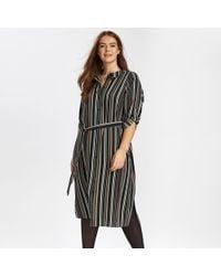 Evans - Khaki Striped Shirt Midi Dress - Lyst