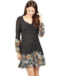 Izabel London - Black Border Print Knit Tunic Dress - Lyst
