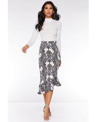 96eb34e9f4 Quiz - Cream Navy And Orange Paisley Print Asymmetric Skirt - Lyst