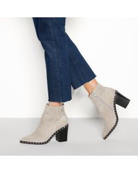 e0cabe3ba0 Faith - Grey Suedette  bombshell  Block Heel Ankle Boots - Lyst
