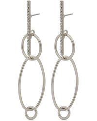Pilgrim - Silver Plated Crystal Drop Earrings - Lyst
