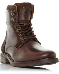 Dune - Brown 'colchester' Cuffed Lace Up Worker Boots - Lyst