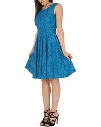 Jolie Moi - Turquoise Lace Bonded Skater Dress - Lyst