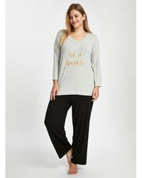 Evans - Grey Sparkle Pyjama Set - Lyst