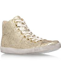 KG by Kurt Geiger - Gold 'ladder' Flat Lace Up Trainers - Lyst