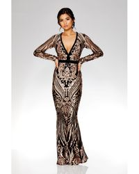 Quiz - Black And Rose Gold Sequin Embellished Fishtail Maxi Dress - Lyst