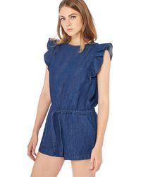 Levi's - Dark Blue Denim 'kaede' Romper Suit With Linen - Lyst