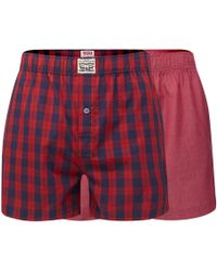Levi's - Pack Of Two Red Checked Woven Boxers - Lyst