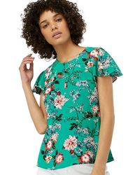 Monsoon - Green 'lara' Print Top - Lyst