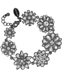 Jenny Packham - Designer Grey Tonal Floral Bracelet - Lyst