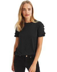 Oasis - Black Spot Frill Sleeves T-shirts - Lyst