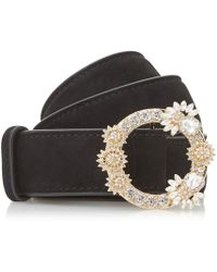 Dune - Black 'nesteer' Diamante Buckle Trim Belt - Lyst