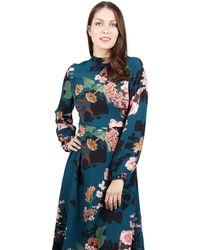 Izabel London - Dark Blue Floral Print Midi Dress - Lyst