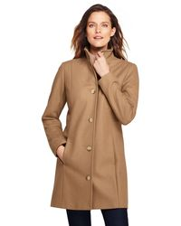 Lands' End - Beige Fit And Flare Wool Blend Coat - Lyst