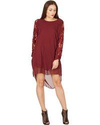Feverfish - Plum Chiffon Lace Sleeves Panel Tunic Dress - Lyst