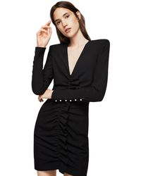 Mango - Black 'tina' Ruched Bodycon Dress - Lyst