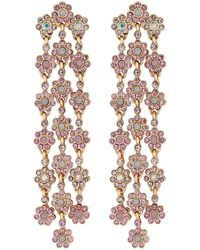 Lipsy - Rose Gold Plated Pink Floral Chandelier Earrings - Lyst