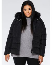 Quiz - Curve Black Padded Faux Fur Hood Jacket - Lyst