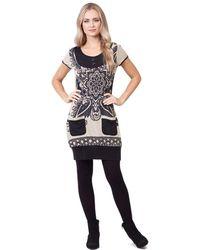 Izabel London - Beige Tunic Dress With Pockets - Lyst