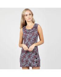 3fea135e4f3 Vila Wine Open Back Velvet  fulla  Mini Dress in Red - Lyst